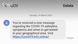Example of a text message used in a phishing scam